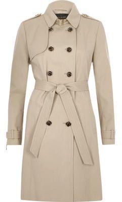 River IslandRiver Island Womens Beige tie waist trench coat