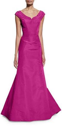 Zac Posen Cap-Sleeve Notched-Neck Gown, Magenta $3,990 thestylecure.com