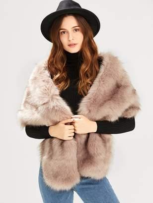 Shein Fluffy Faux Fur Poncho Vest