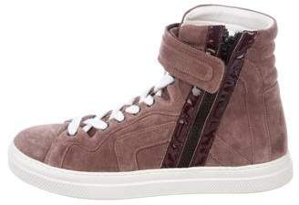 Pierre Hardy Suede High-Top Sneakers