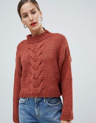 NATIVE YOUTH Premium Hand Knitted Cropped Cable Knit Jumper
