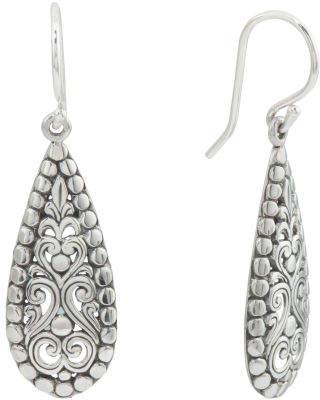 Made In Bali Sterling Silver Filigree Teardrop Earrings
