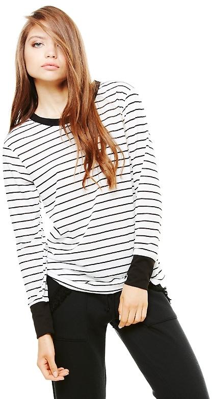 LnA Sandy Black and White Stripe Long Sleeve Tee