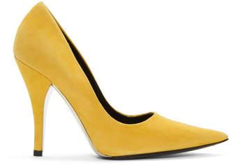 Calvin Klein Yellow Suede Rosaine Heels