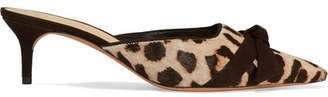 Alexandre Birman Daisy Bow-embellished Leopard-print Calf Hair Mules - Leopard print