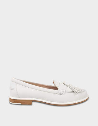 Tod's Fringed Moccasins in White Grained Calfskin
