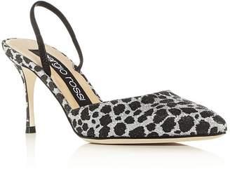 Sergio Rossi Women's Godiva Glitter Leopard Print Slingback Pumps