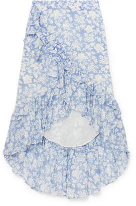 LoveShackFancy Liza Ruffled Floral-print Cotton And Silk-blend Voile Skirt - Blue