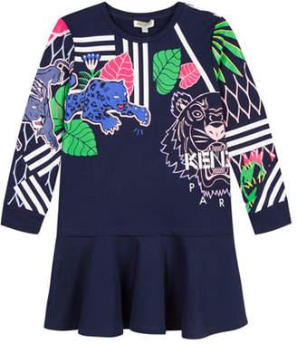 Kenzo Drop-Waist Mixed Tiger Icon Dress, Size 4-6