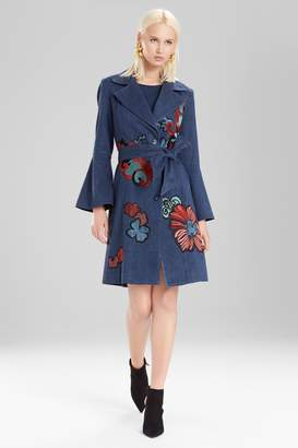 Natori Josie Casual Twill Trench Coat With Embroidery