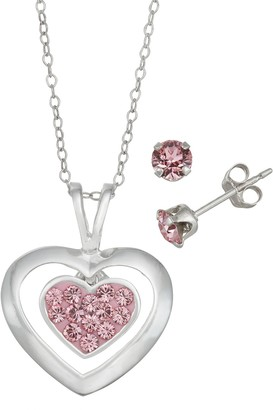 Charming Girl Kids' Sterling Silver Pink Crystal Heart Pendant & Stud Earring Set
