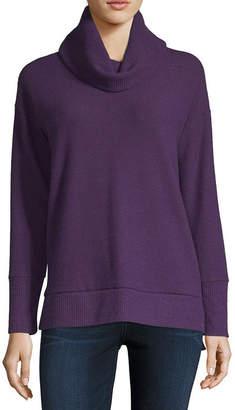 Liz Claiborne Womens Cowl Neck Long Sleeve T-Shirt