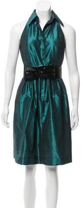 Carmen Marc Valvo Belted Satin Dress