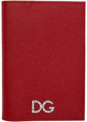 Dolce & Gabbana Red Crystal Logo Passport Holder
