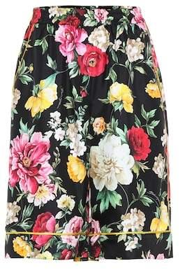Dolce & Gabbana Floral-printed silk shorts