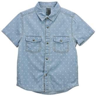 No Retreat Boys Light Indigo Print Button Up Short Sleeve Pocket Woven Shirt