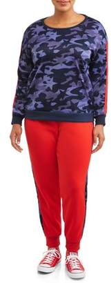 Eye Candy Women's Plus Active Printed Crewneck Pullover and Side Striped Jogger Set