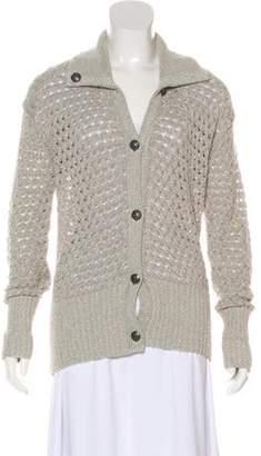 St. John Open Knit Button-Up Cardigan grey Open Knit Button-Up Cardigan