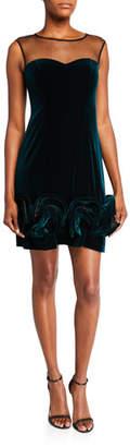 Aidan Mattox Cap-Sleeve Velvet Illusion Cocktail Dress w/ Ruffle Skirt Detail