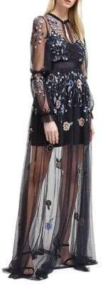 French Connection Caspia Embroidered Mesh Dress