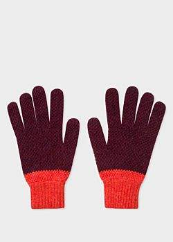 Paul Smith Men's Burgundy Cable Knit Wool Gloves
