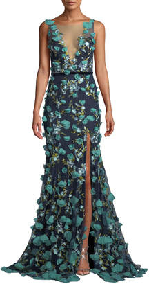 Marchesa Plunging-Illusion 3D Flower Trumpet Gown