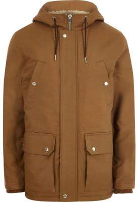 River Island Big and Tall brown hooded fleece lined jacket