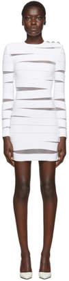 Balmain White Long Sleeve Open Knit Dress