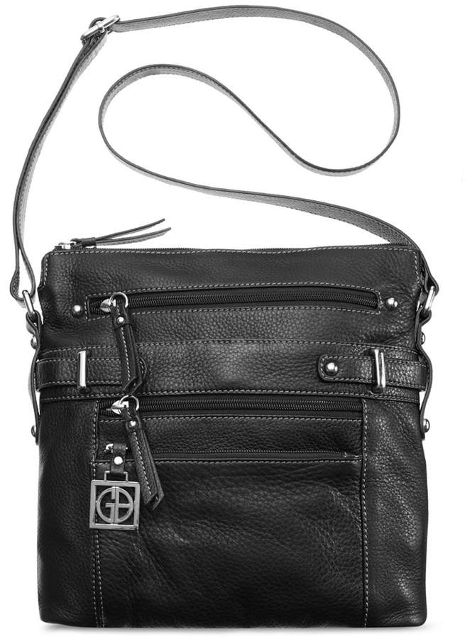 Giani Bernini Pebble Leather Multi Zip Pocket Crossbody Bag