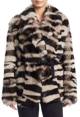 IRO Zebra Shearling Reversible Coat