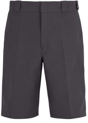Prada Logo Embellished Pleat Detail Tailored Shorts - Mens - Grey