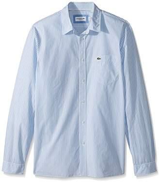 Lacoste Men's Long Sleeve Bengal Stripe Poplin Collar Reg Fit Woven Shirt