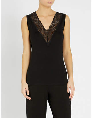 The White Company Ladies Black Deep V-Neck Lace Sleeveless Stretch-Jersey Top
