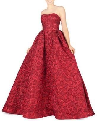 Mac Duggal Strapless Embossed Metallic Brocade Ball Gown