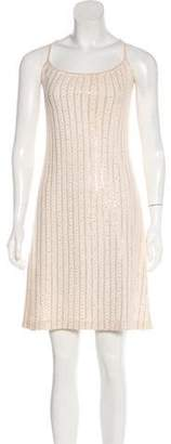 St. John Spaghetti Strap Mini Dress Beige Spaghetti Strap Mini Dress