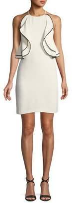 Halston Ruffle-Front Halter Mini Cocktail Dress