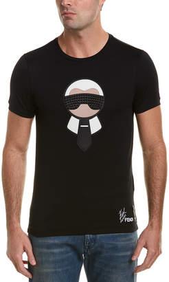 Fendi Leather-Trim T-Shirt