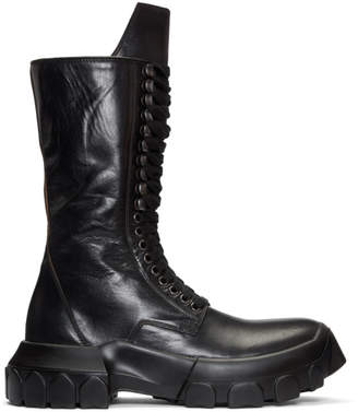 Rick Owens Black Lace-Up Tractor Boots