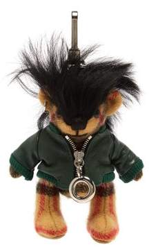 Burberry Thomas Bear Biker Jacket Cashmere Key Ring - Womens - Green Multi