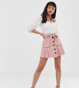 c4404e5f94 Asos DESIGN Petite linen pleat mini skirt with button front and pockets