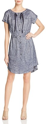 Theory Laela Tie-Neck Chambray Shirt Dress $345 thestylecure.com