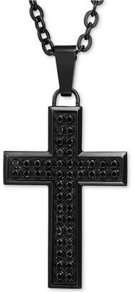 "Macy's Men's Black Sapphire Square Cross 22"" Pendant Necklace (1-1/2 ct. t.w.) in Black Ion-Plated Stainless Steel"