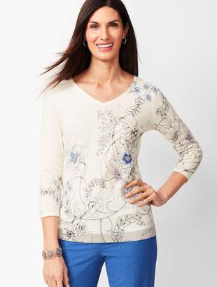 Talbots Double V-Neck Floral Top