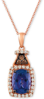 """LeVian Le Vian Blueberry Tanzanite (2 ct. t.w.), Nude Diamond (1/4 ct. t.w.) and Chocolate Diamond Accent 18"""" Pendant Necklace in 14k Rose Gold"""