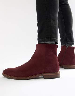 Asos DESIGN Chelsea Boots In Burgundy Suede With Natural Sole