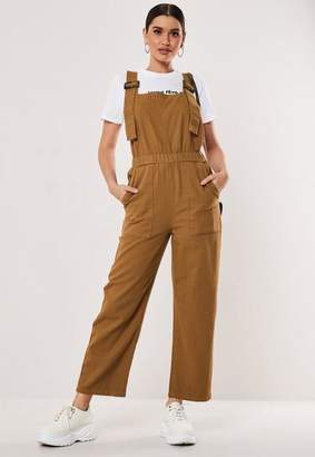 Missguided Brown Faux Tortoise Shell Buckle Dungarees