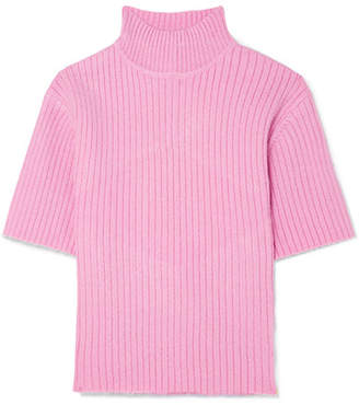 STAUD - Claudia Cutout Ribbed-knit Sweater - Baby pink