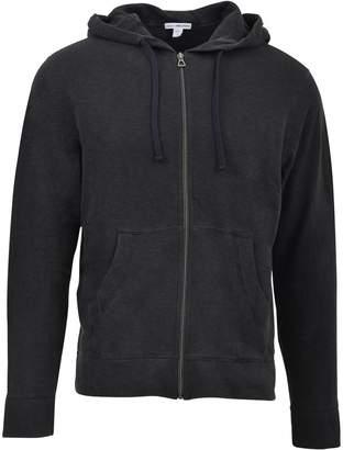 James Perse Black Hooded Zip-up Jacket