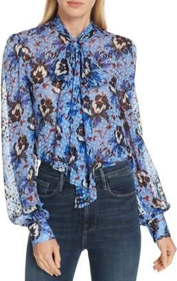 Diane von Furstenberg Lanie Floral Print Tie Neck Silk Blend Blouse