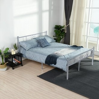 Cheerwing Easy Set-up Premium Metal Bed Frame Platform Box Spring Replacement with Headboard and Footboard Multiple Size